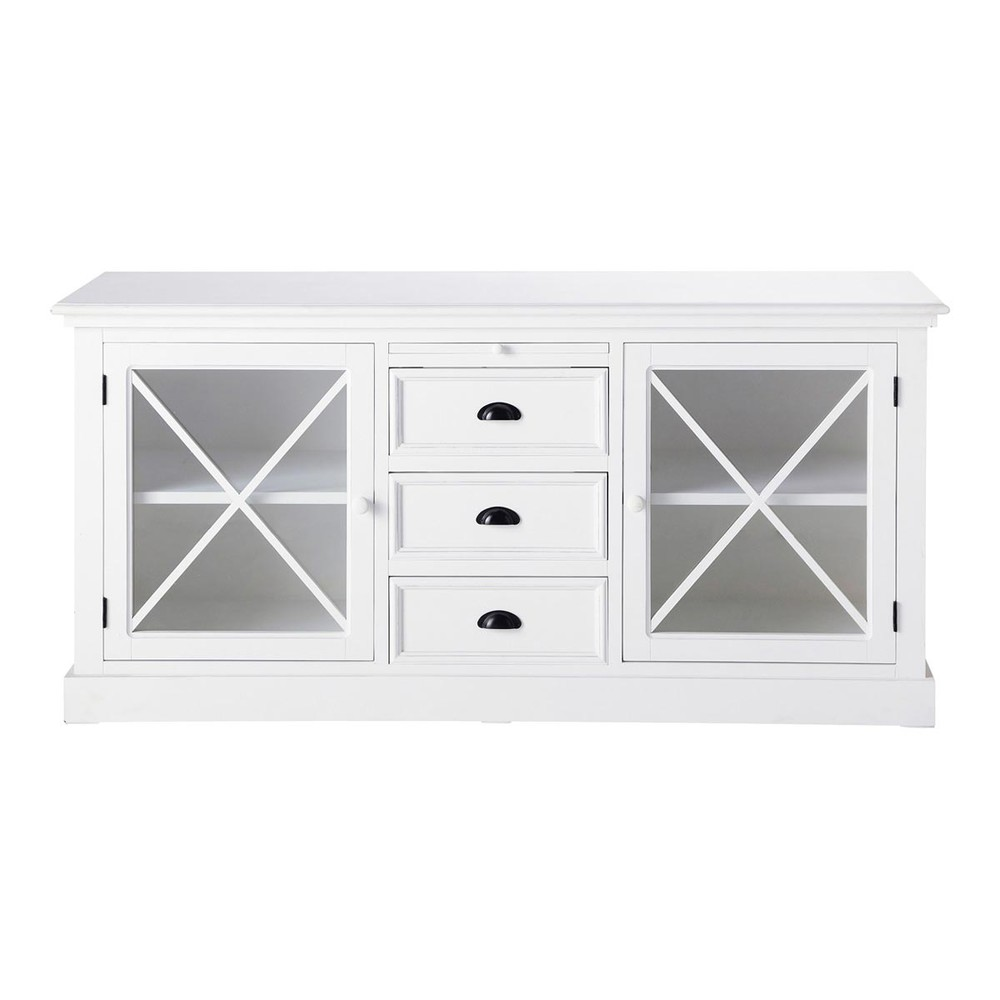buffet vitr en bois blanc mat l 163 cm newport maisons. Black Bedroom Furniture Sets. Home Design Ideas