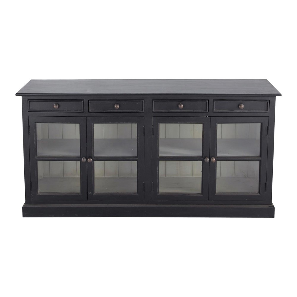 buffet vitr en manguier noir l 170 cm clarence maisons du monde. Black Bedroom Furniture Sets. Home Design Ideas