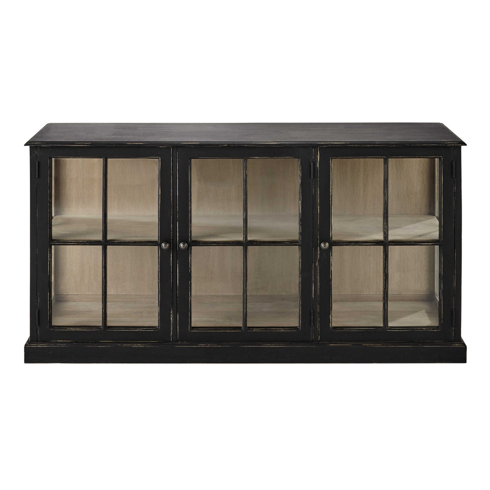 buffet vitr en manguier noir l 171 cm diderot maisons. Black Bedroom Furniture Sets. Home Design Ideas
