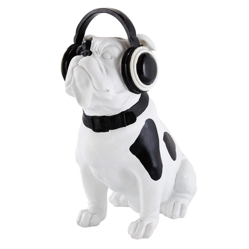 bulldog rock black white dog statuette h 33 cm maisons. Black Bedroom Furniture Sets. Home Design Ideas