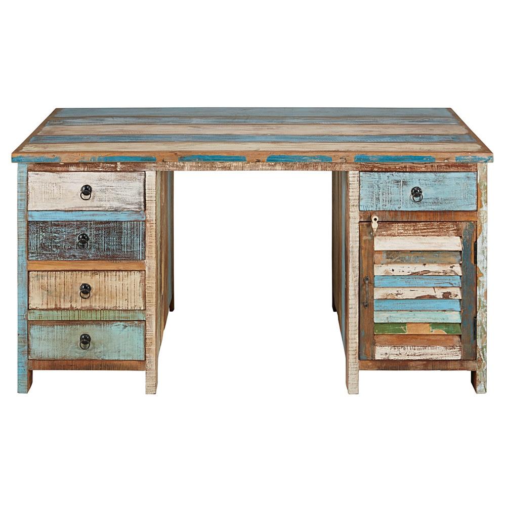 Bureau 1 porte 5 tiroirs en bois recycl s peints calanque for Bureau 5 tiroirs