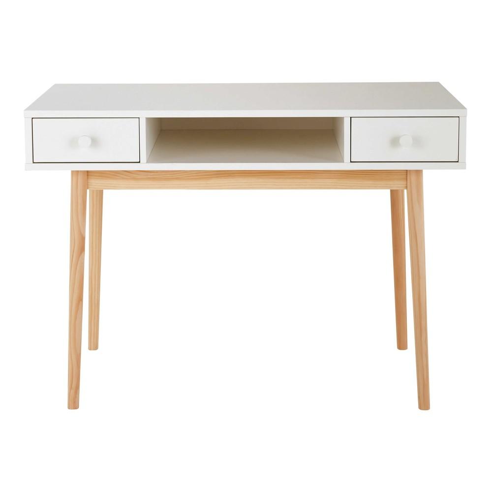 Bureau 2 tiroirs blanc joy maisons du monde for Bureau 2 tiroirs
