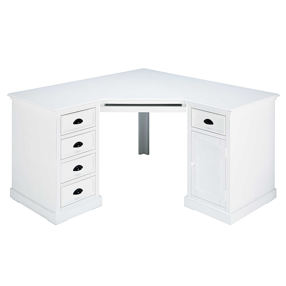 bureau d 39 angle 1 porte 5 tiroirs en sapin blanc newport. Black Bedroom Furniture Sets. Home Design Ideas