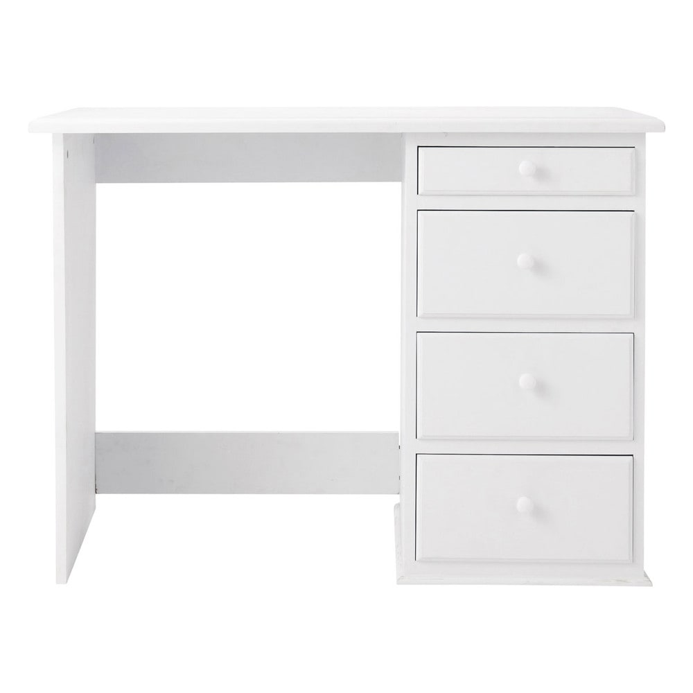 bureau en bois blanc l 105 cm pastel maisons du monde. Black Bedroom Furniture Sets. Home Design Ideas