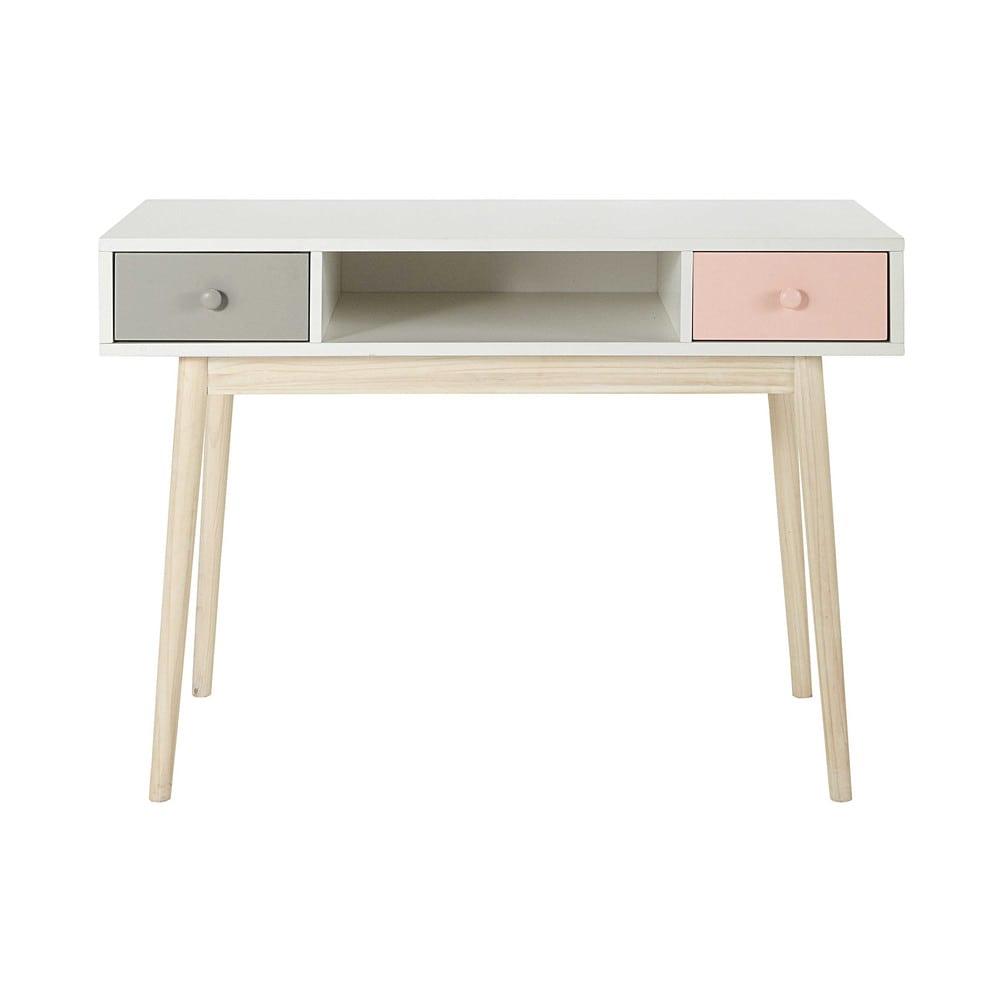 Bureau en bois blanc l 110 cm blush maisons du monde for Scrivania maison du monde