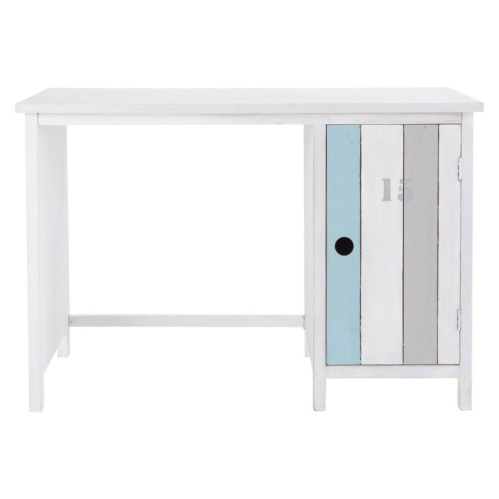 Bureau en bois blanc l 110 cm oc an maisons du monde for Bureau en bois blanc