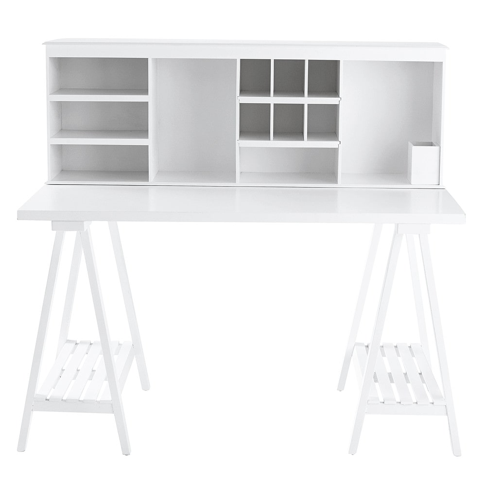 bureau en bois blanc l 130 cm campus maisons du monde. Black Bedroom Furniture Sets. Home Design Ideas