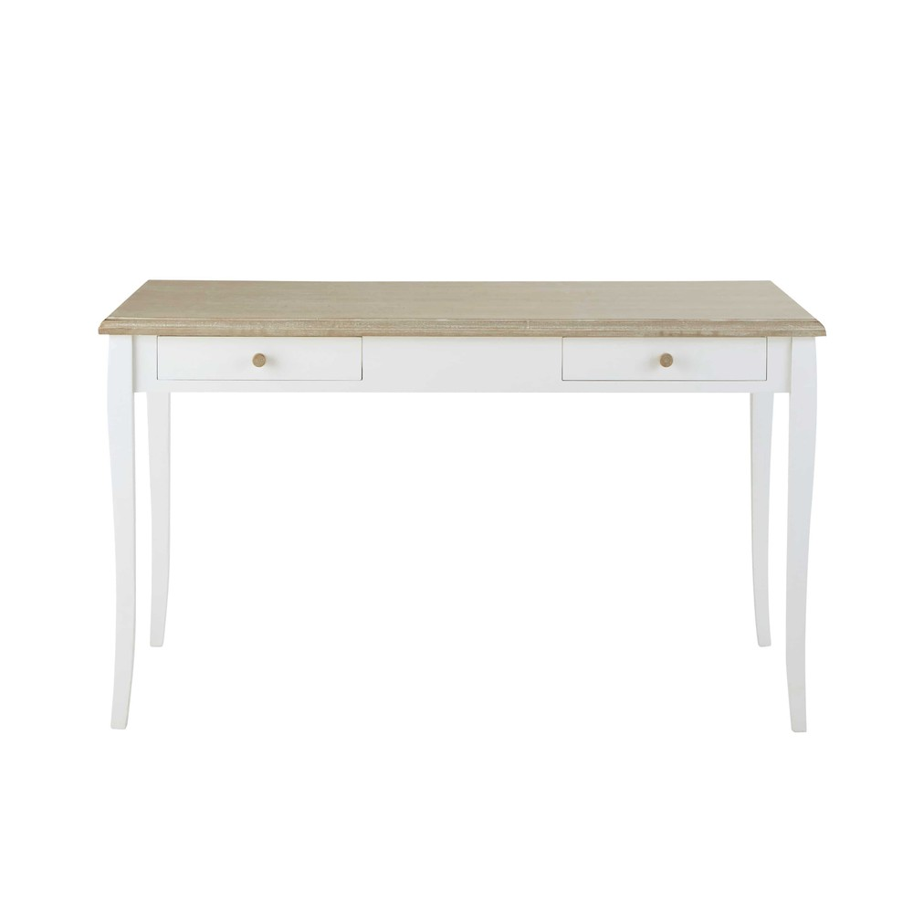 Bureau en bois blanc l 132 cm ang lique maisons du monde for Bureau en bois blanc