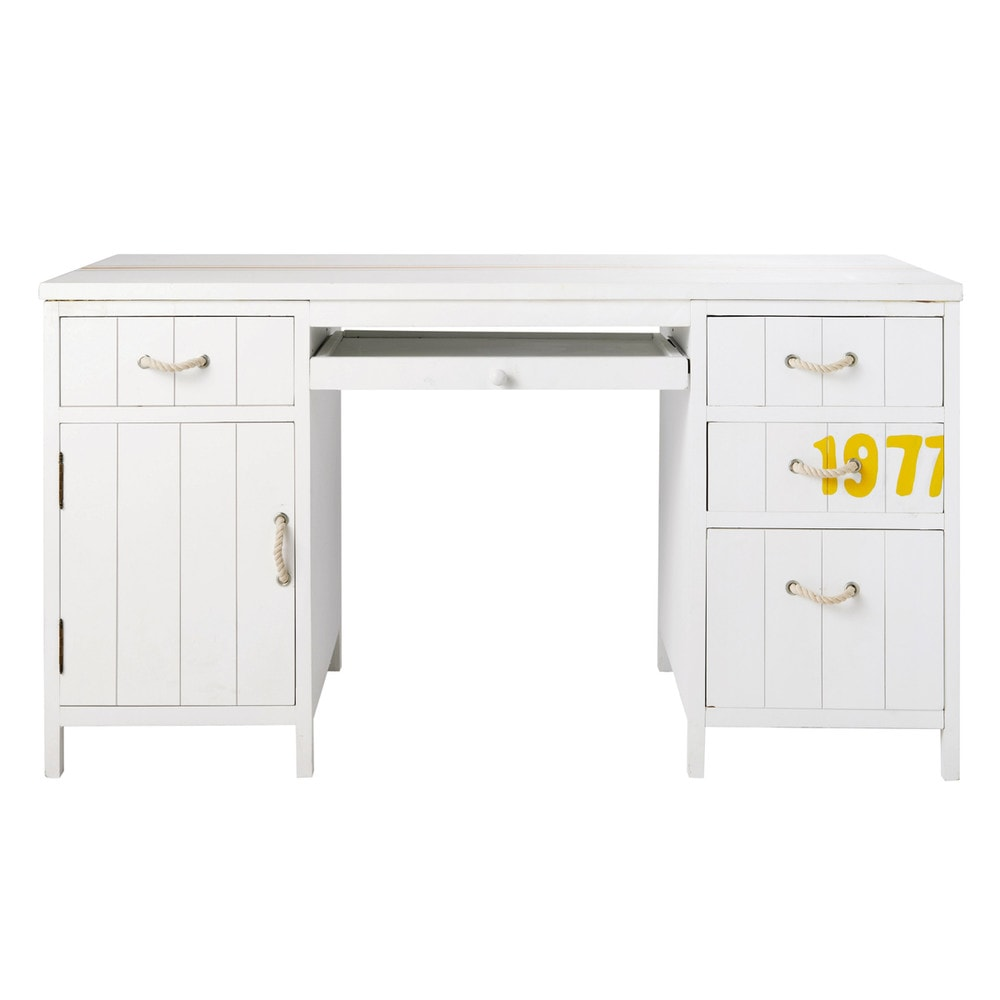 bureau en bois blanc l 145 cm surf maisons du monde. Black Bedroom Furniture Sets. Home Design Ideas