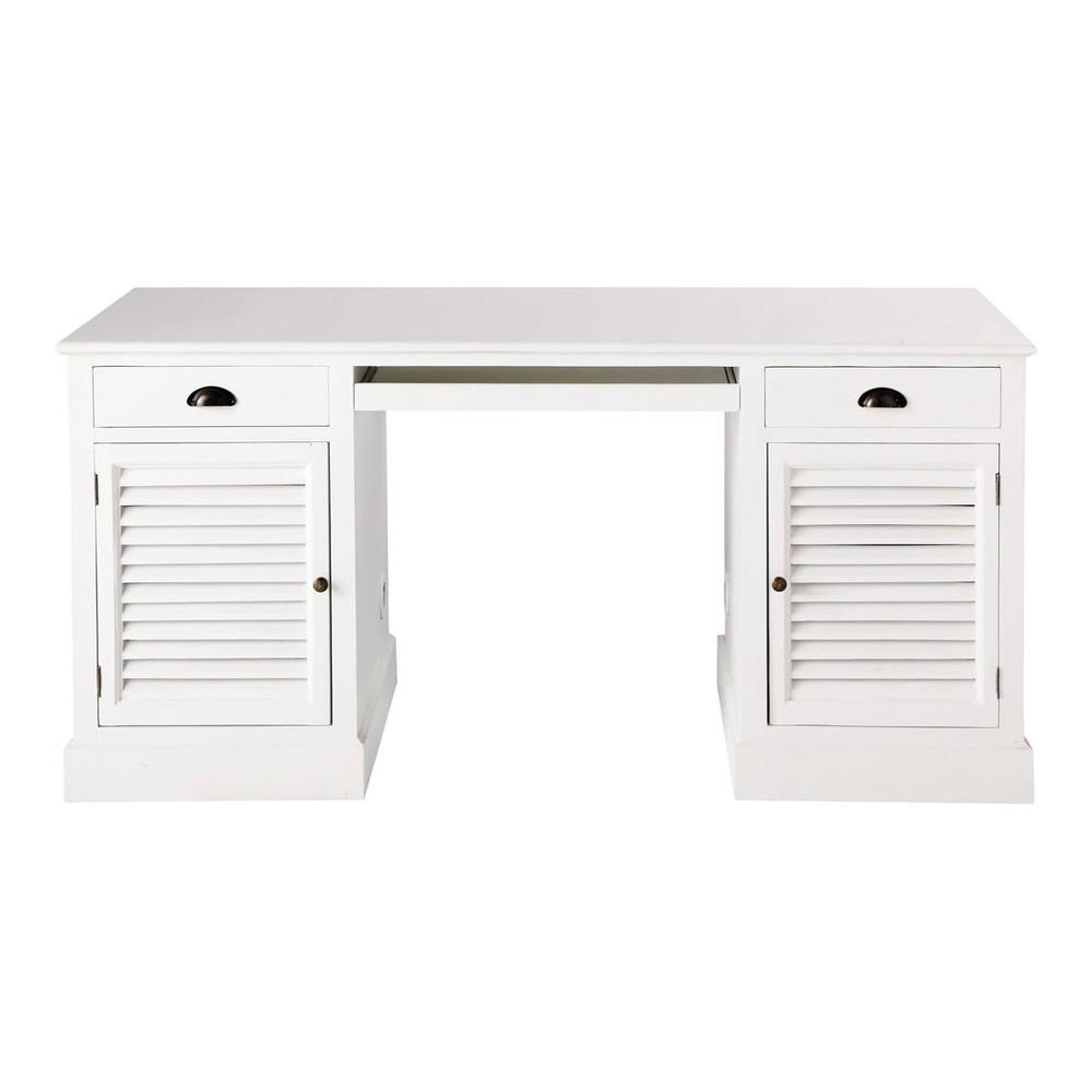 Bureau en bois blanc l 150 cm barbade maisons du monde for Scrivania maison du monde
