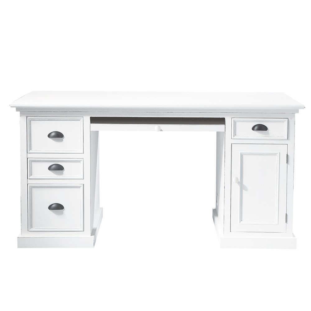 bureau en bois blanc l 150 cm newport maisons du monde. Black Bedroom Furniture Sets. Home Design Ideas