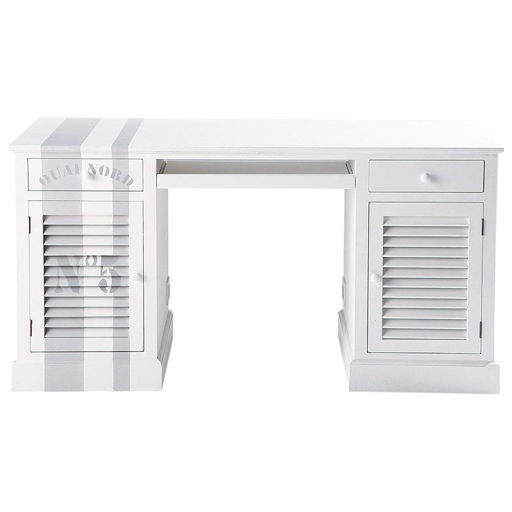 bureau en bois blanc l 150 cm quai nord maisons du monde. Black Bedroom Furniture Sets. Home Design Ideas