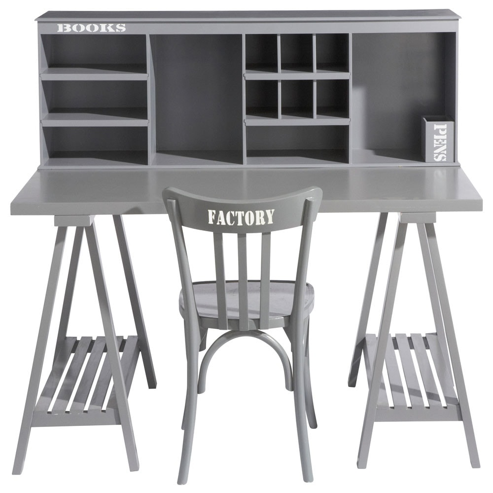 bureau en bois gris l 130 cm campus maisons du monde. Black Bedroom Furniture Sets. Home Design Ideas