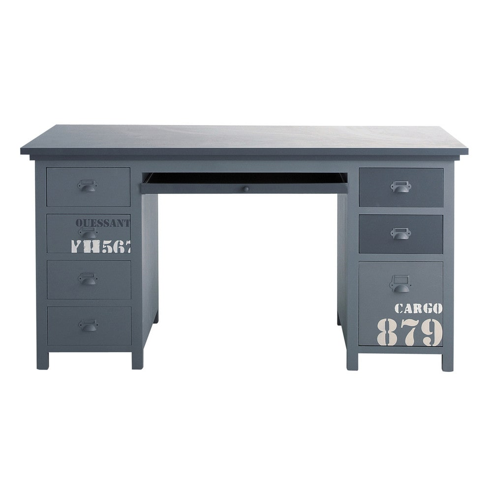 bureau en bois gris l 150 cm cargo maisons du monde. Black Bedroom Furniture Sets. Home Design Ideas