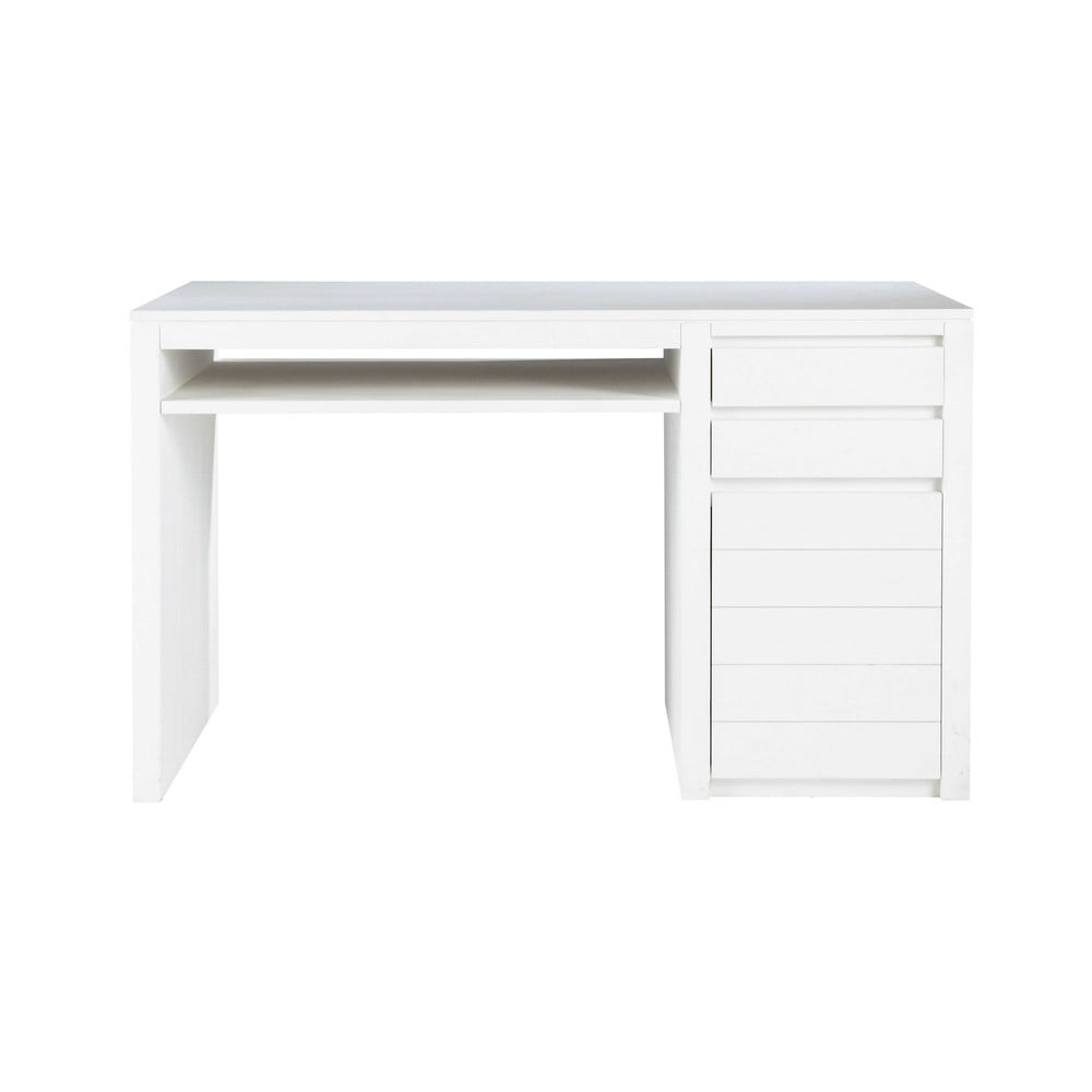 Bureau en bois massif blanc l 130 cm white maisons du monde - Bureau en bois blanc ...