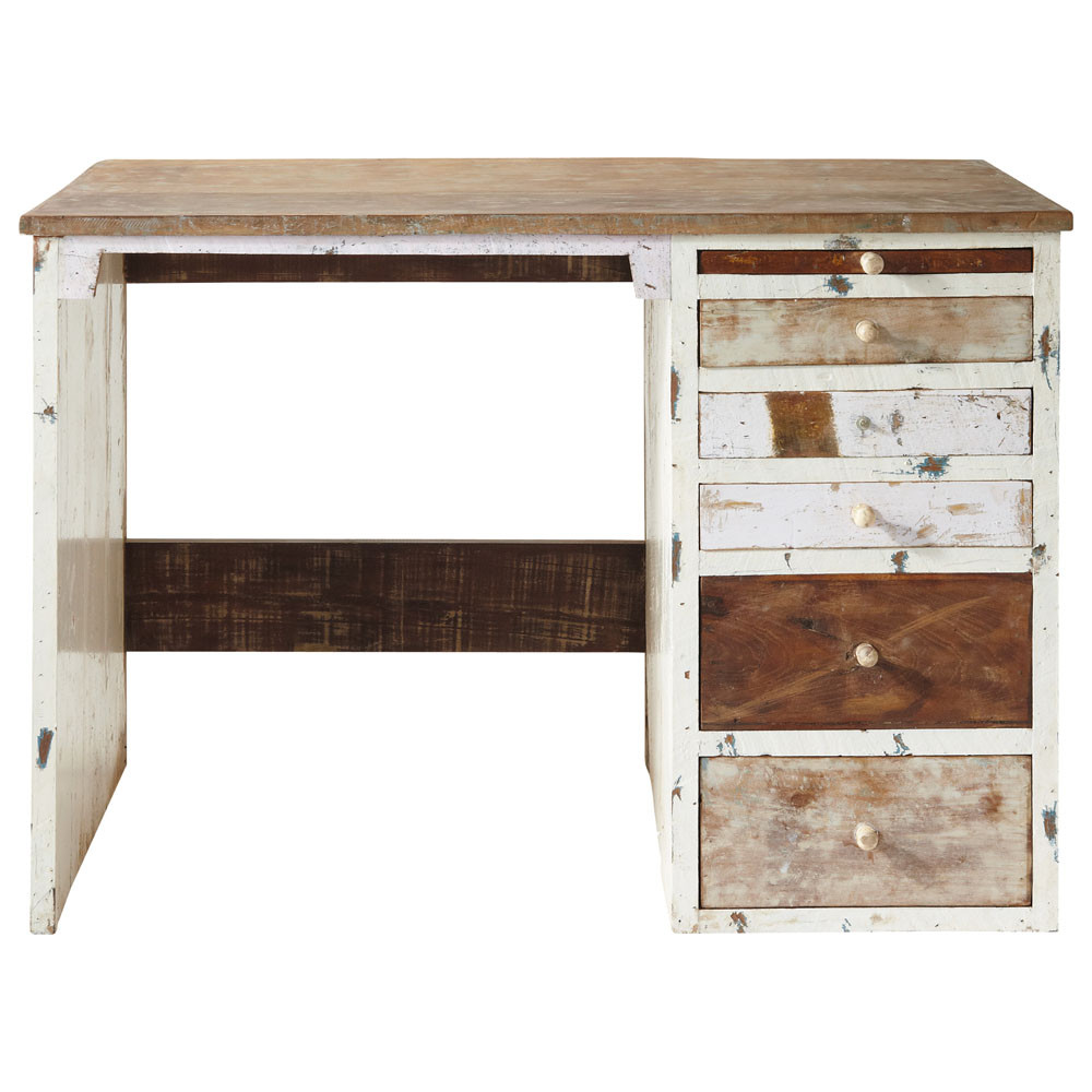 bureau en bois recycl l 112 cm arcachon maisons du monde. Black Bedroom Furniture Sets. Home Design Ideas