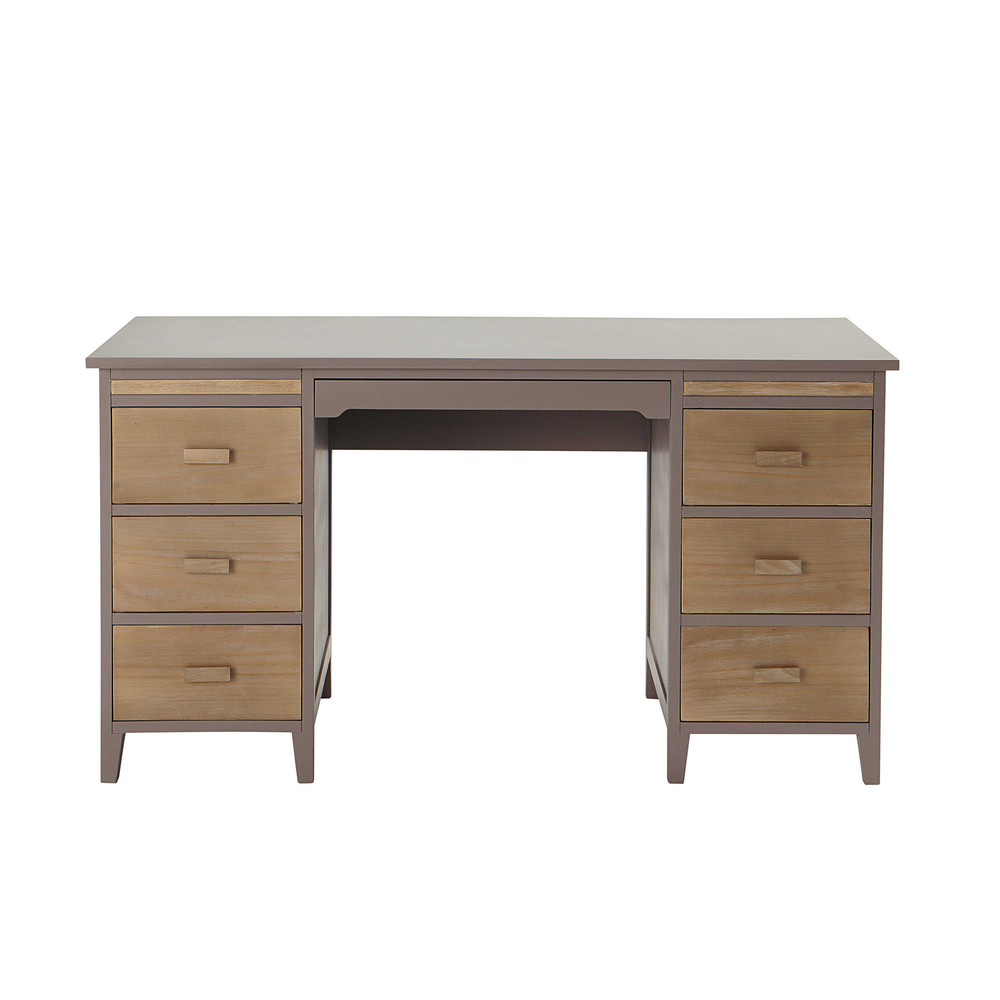 bureau en bois taupe l 140 cm forest maisons du monde. Black Bedroom Furniture Sets. Home Design Ideas