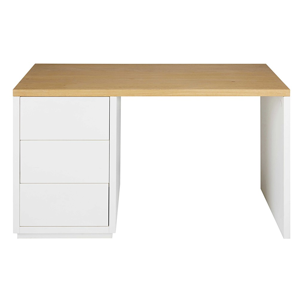 bureau en ch ne massif blanc austral maisons du. Black Bedroom Furniture Sets. Home Design Ideas