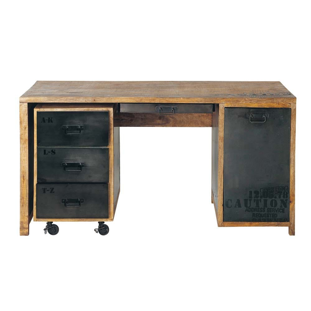 bureau en manguier massif et m tal l 150 cm manufacture. Black Bedroom Furniture Sets. Home Design Ideas