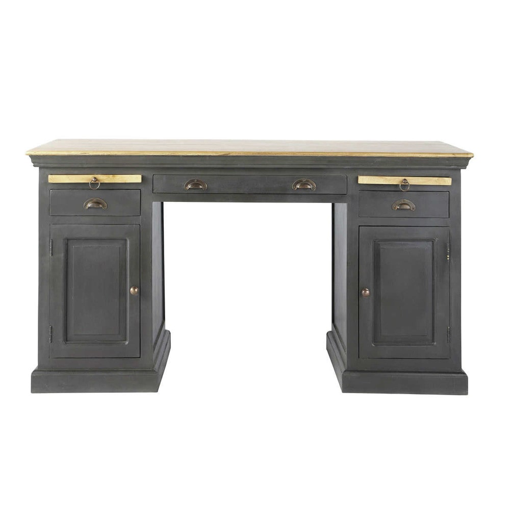 bureau en manguier noir l 144 cm chenonceau maisons du monde. Black Bedroom Furniture Sets. Home Design Ideas