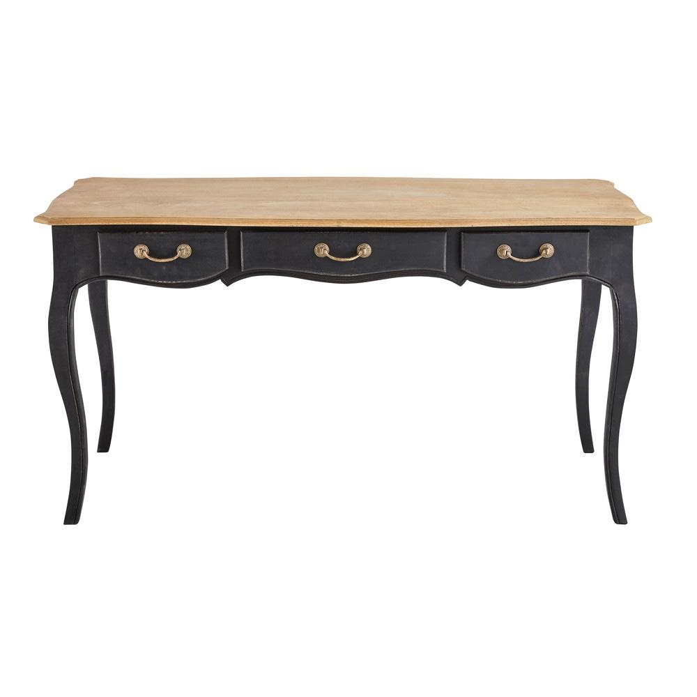 bureau en manguier noir versailles maisons du monde. Black Bedroom Furniture Sets. Home Design Ideas