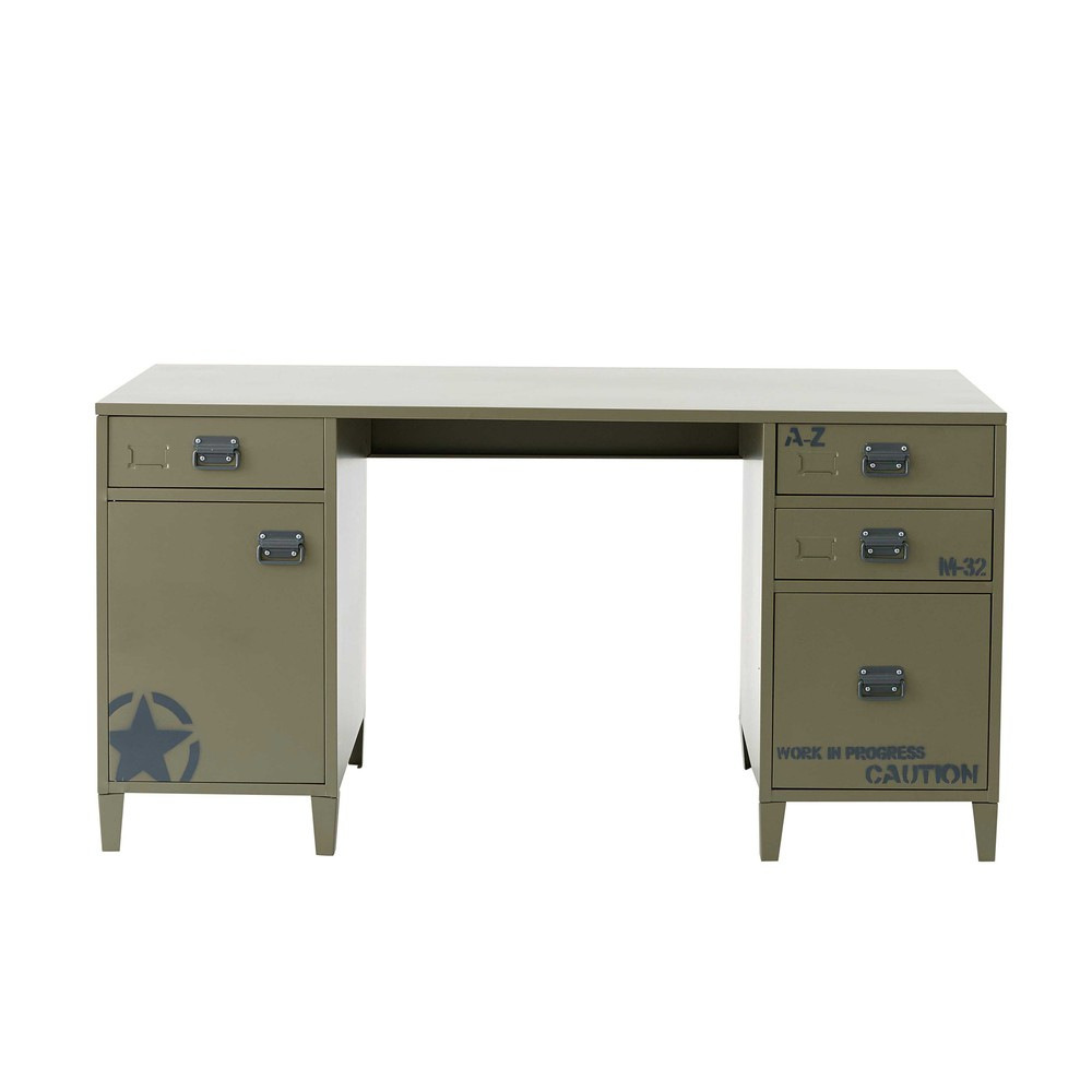bureau en m tal vert kaki l 150 cm douglas maisons du monde. Black Bedroom Furniture Sets. Home Design Ideas