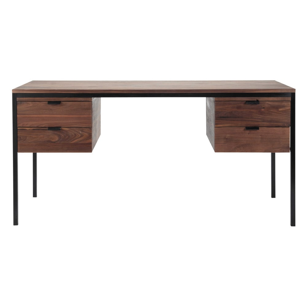 bureau en noyer massif l 153 cm berkley maisons du monde. Black Bedroom Furniture Sets. Home Design Ideas