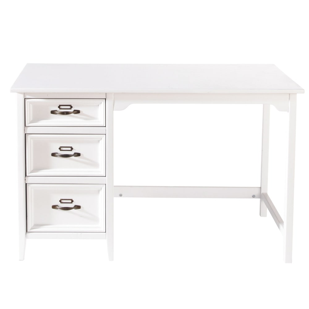 bureau en pin blanc aur lien maisons du monde. Black Bedroom Furniture Sets. Home Design Ideas