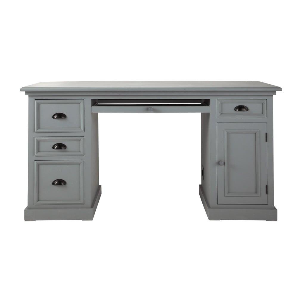 bureau en pin gris l 150 cm newport maisons du monde. Black Bedroom Furniture Sets. Home Design Ideas