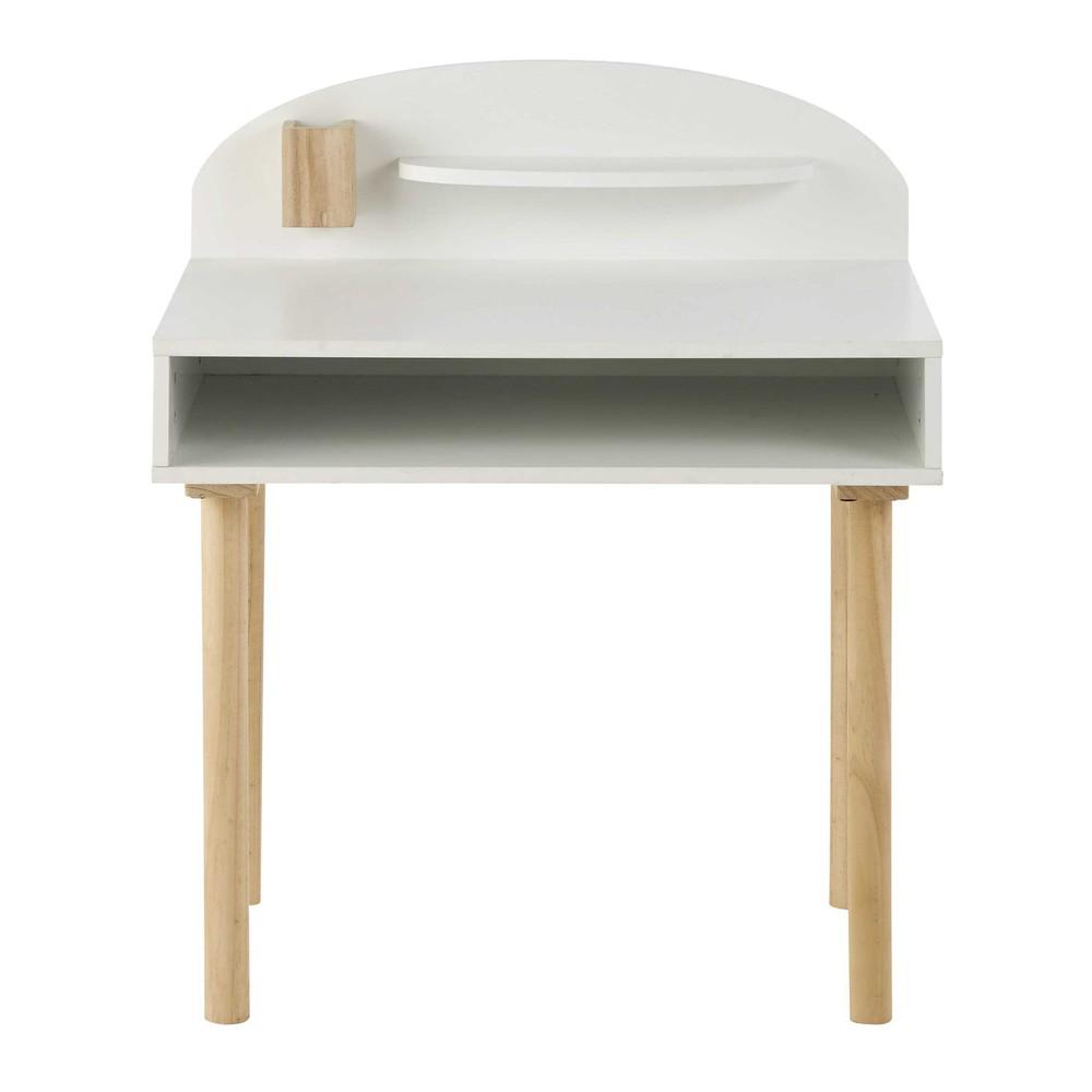 Bureau enfant en bois blanc l 70 cm nuage maisons du monde for Bureau junior fille