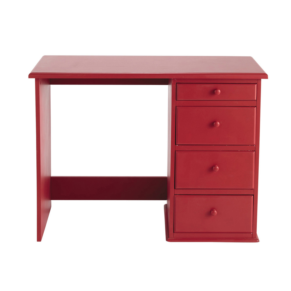 bureau enfant en bois rouge l 105 cm coccinelle maisons. Black Bedroom Furniture Sets. Home Design Ideas