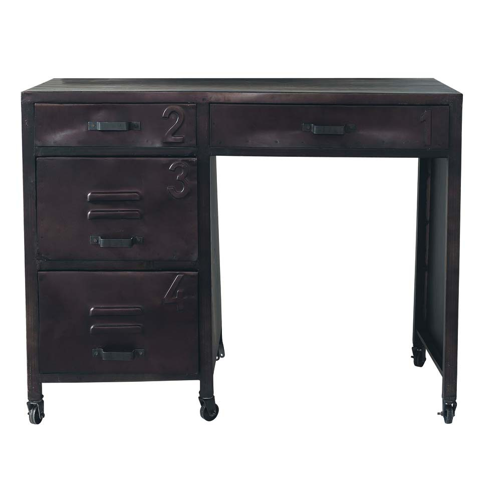 bureau indus roulettes en m tal noir l 104 cm edison maisons du monde. Black Bedroom Furniture Sets. Home Design Ideas