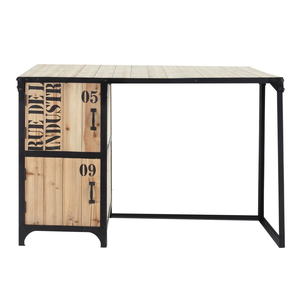 bureau indus en m tal noir l 120 cm docks maisons du monde. Black Bedroom Furniture Sets. Home Design Ideas