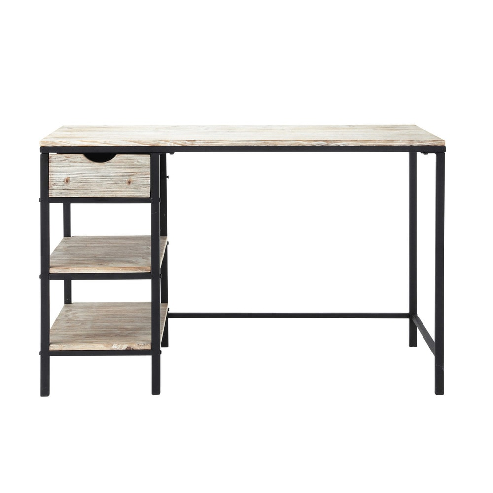 bureau indus en sapin massif blanchi et m tal long island maisons du monde. Black Bedroom Furniture Sets. Home Design Ideas
