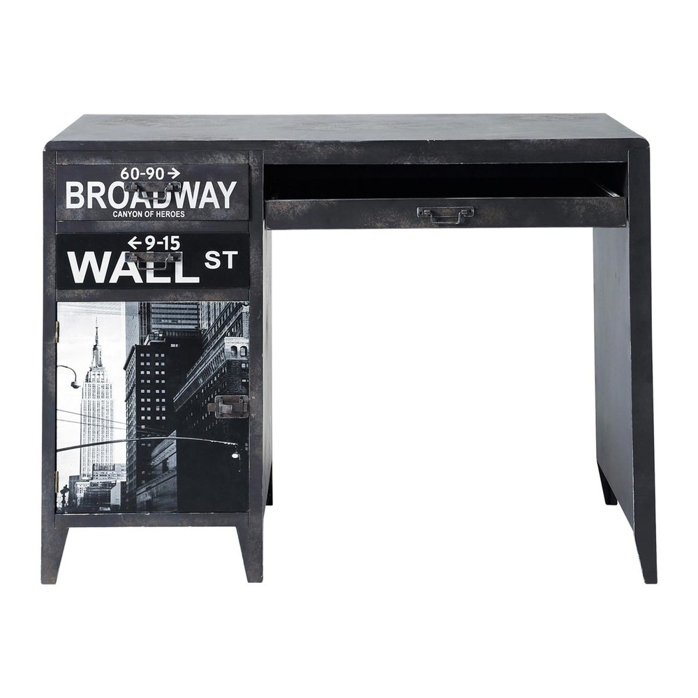 bureau indus imprim en bois noir l 110 cm wall street maisons du monde. Black Bedroom Furniture Sets. Home Design Ideas