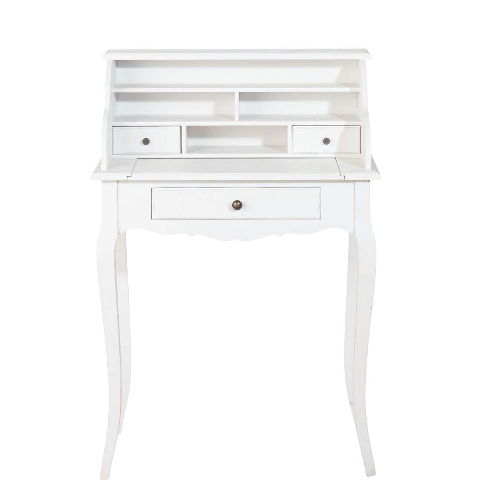 bureau secr taire en bois blanc l 68 cm s raphine. Black Bedroom Furniture Sets. Home Design Ideas