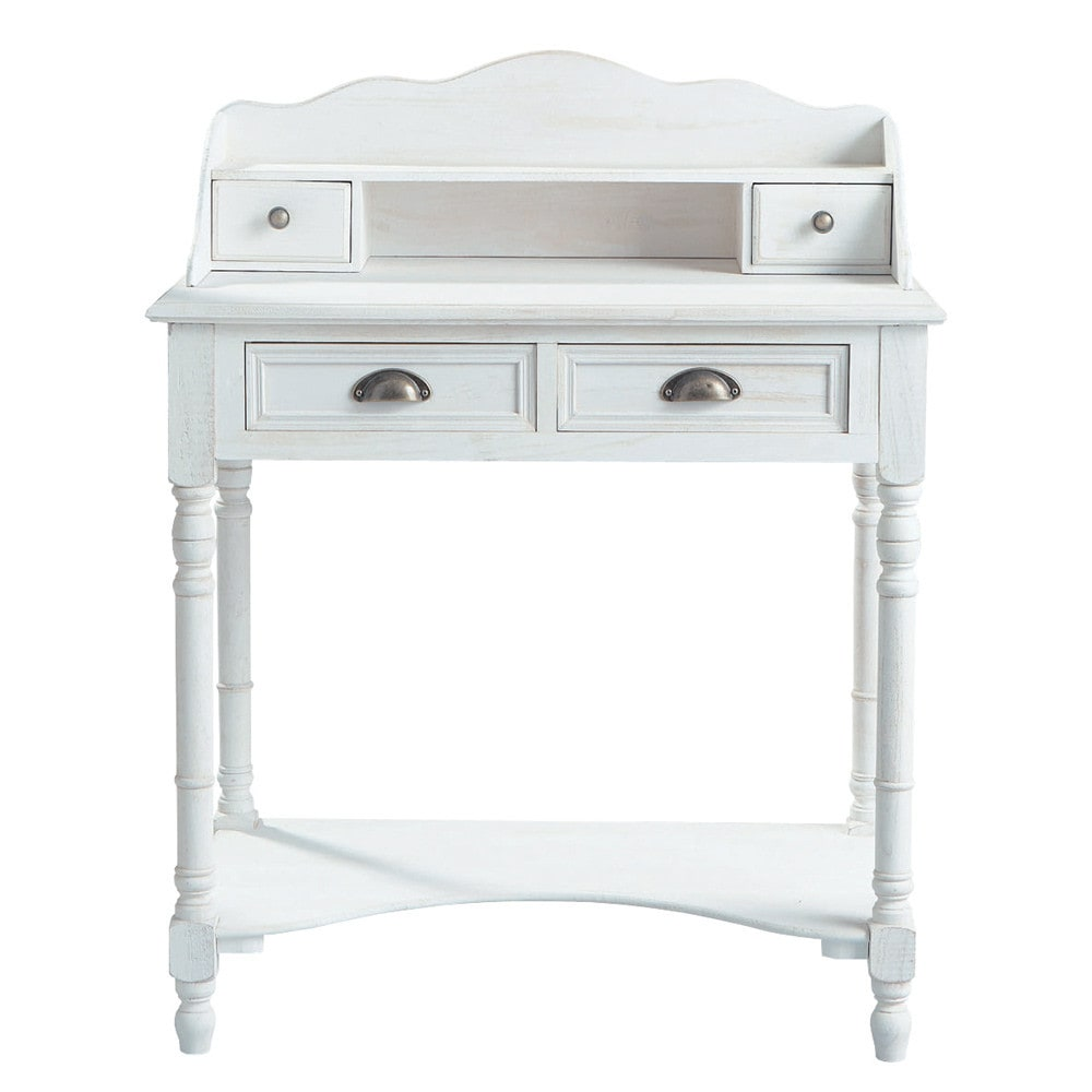 bureau secr taire en bois blanc l 80 cm jos phine maisons du monde. Black Bedroom Furniture Sets. Home Design Ideas