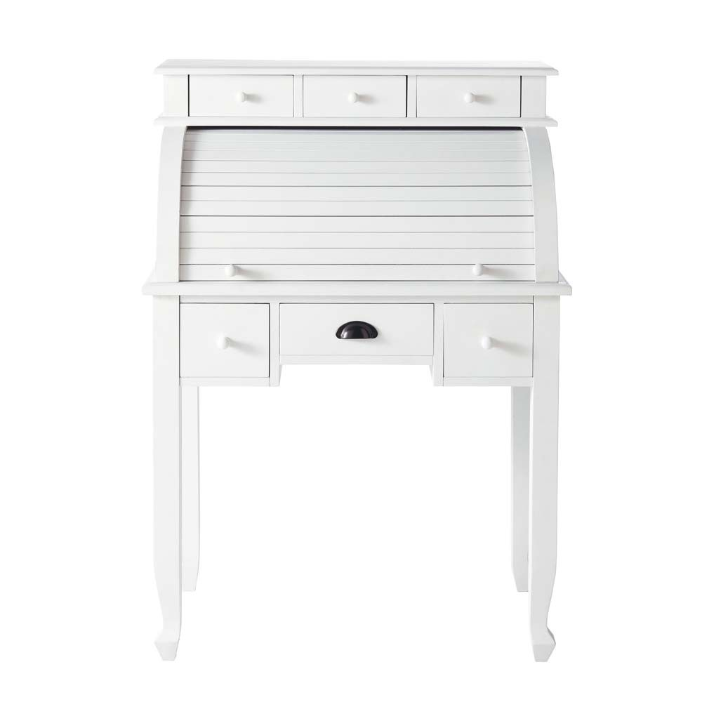 bureau secr taire en bois blanc l 82 cm freeport maisons du monde. Black Bedroom Furniture Sets. Home Design Ideas