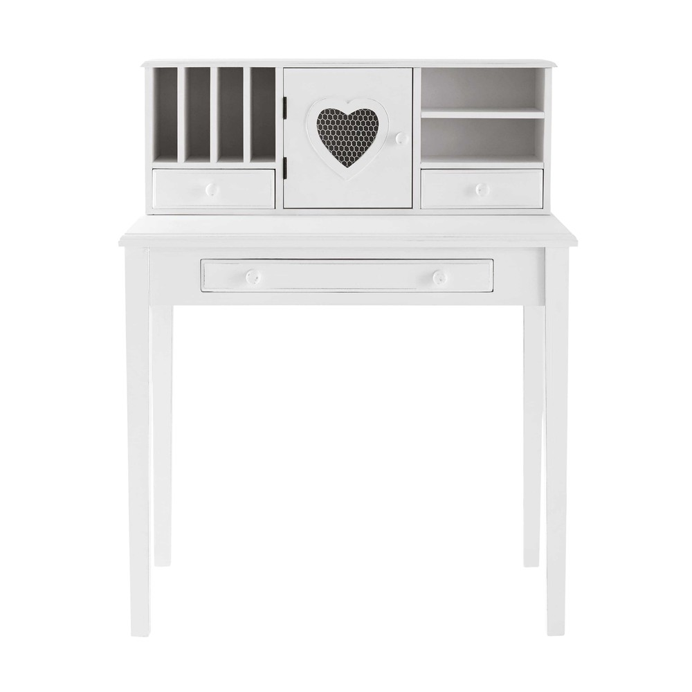 bureau secr taire en bois blanc valentine maisons du monde. Black Bedroom Furniture Sets. Home Design Ideas