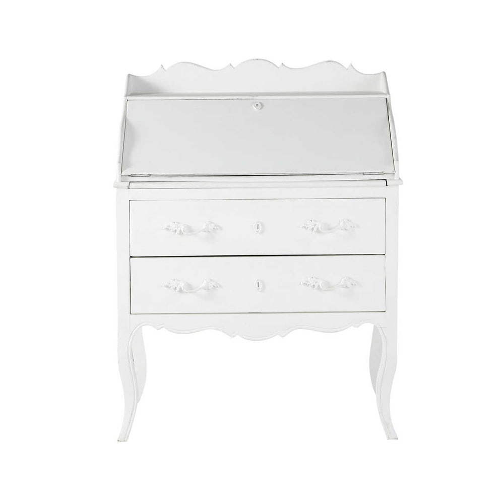 bureau secr taire en manguier blanc l 80 cm m dicis. Black Bedroom Furniture Sets. Home Design Ideas