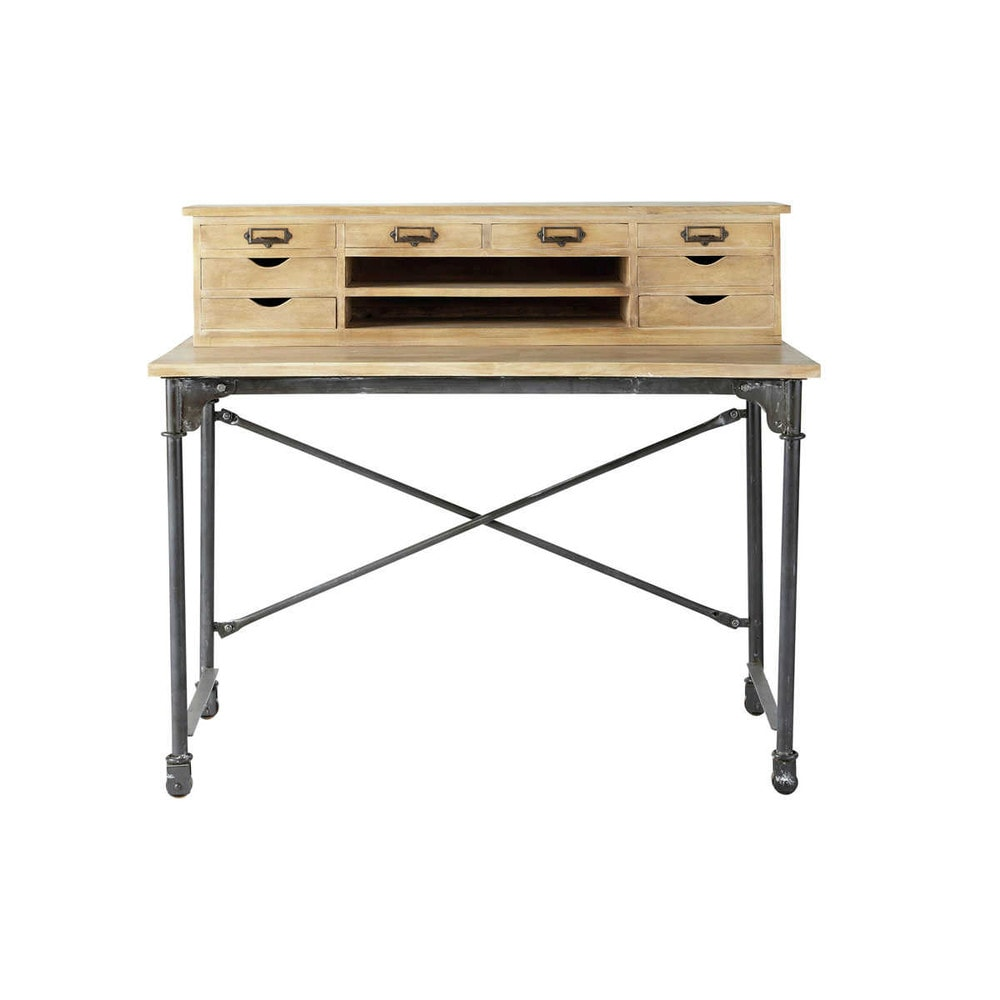 bureau secr taire en manguier massif et m tal l 117 cm archibald maisons du monde. Black Bedroom Furniture Sets. Home Design Ideas