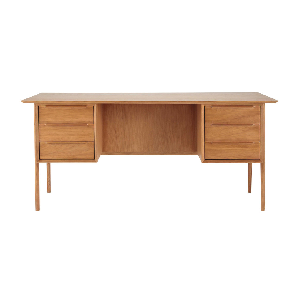 bureau vintage en ch ne massif dor l 166 cm portobello. Black Bedroom Furniture Sets. Home Design Ideas