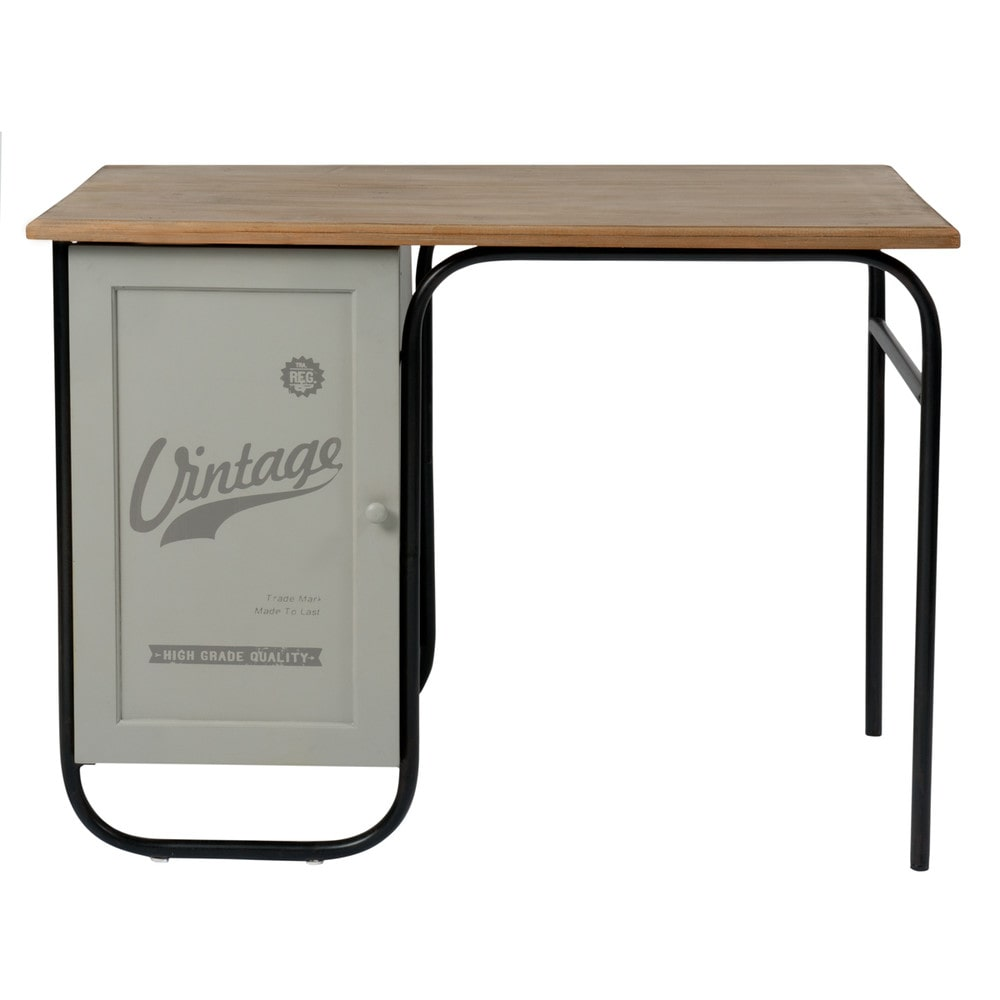 bureau vintage gris l 100 cm mika maisons du monde. Black Bedroom Furniture Sets. Home Design Ideas