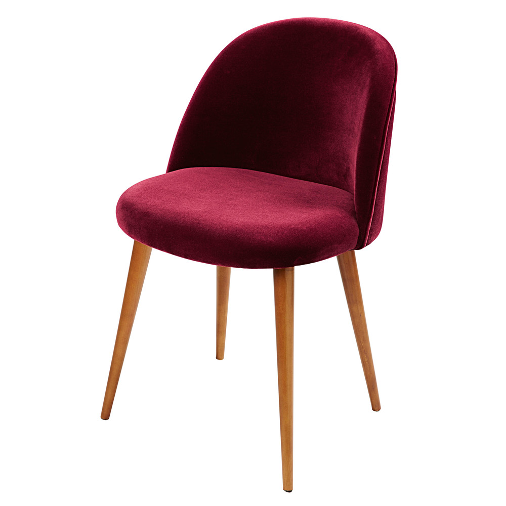 burgundy velvet vintage chair mauricette maisons du monde. Black Bedroom Furniture Sets. Home Design Ideas