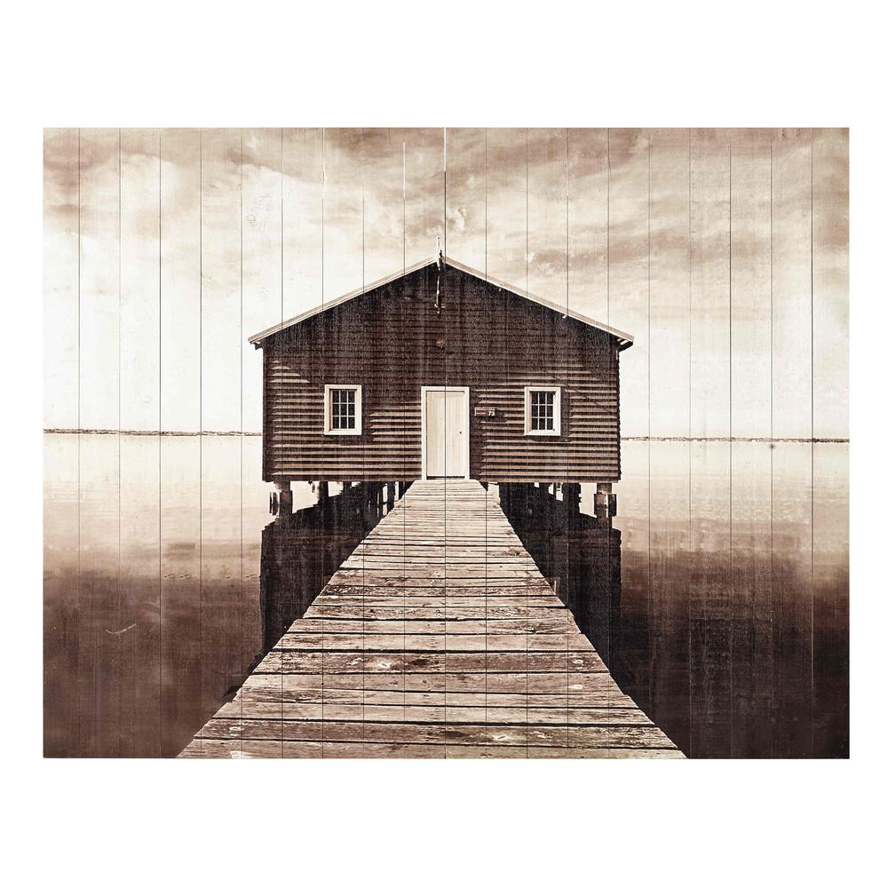 Cabecero 160 cm de listones de madera seaside maisons du - Cabecero listones madera ...