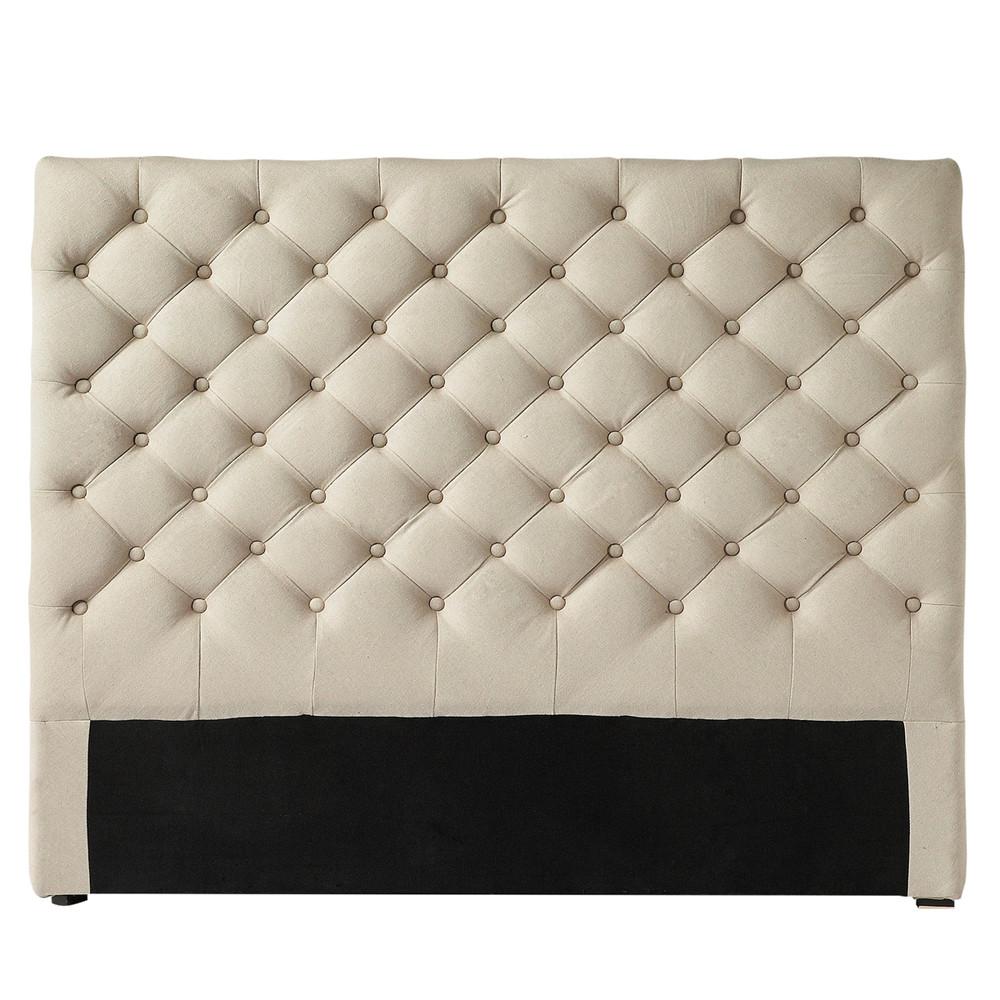 cabecero capiton de lino an 160 cm chesterfield maisons du monde. Black Bedroom Furniture Sets. Home Design Ideas