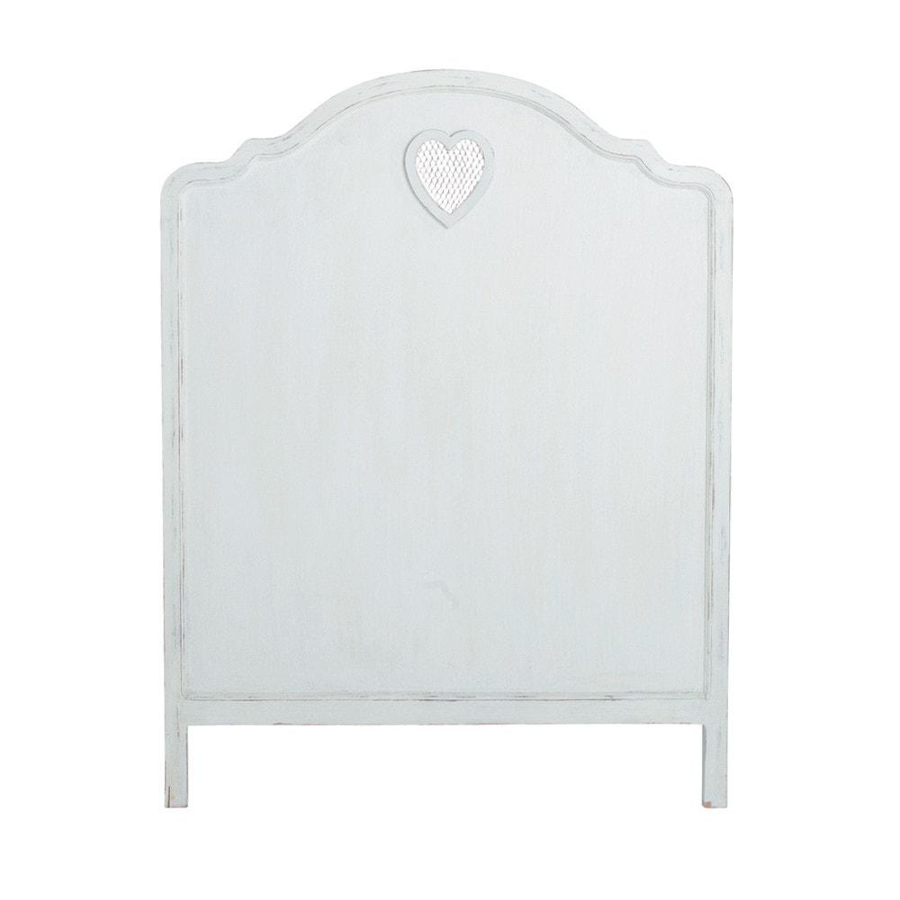Cabecero de madera blanco an 90 cm valentine maisons du - Cabecero de madera blanco ...