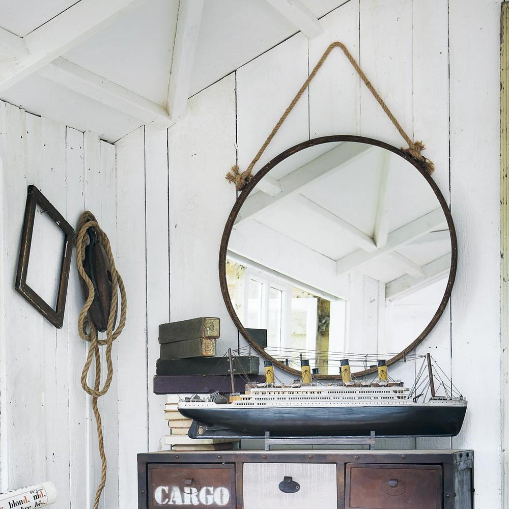 cabine rust effect metal mirror h 70cm maisons du monde. Black Bedroom Furniture Sets. Home Design Ideas