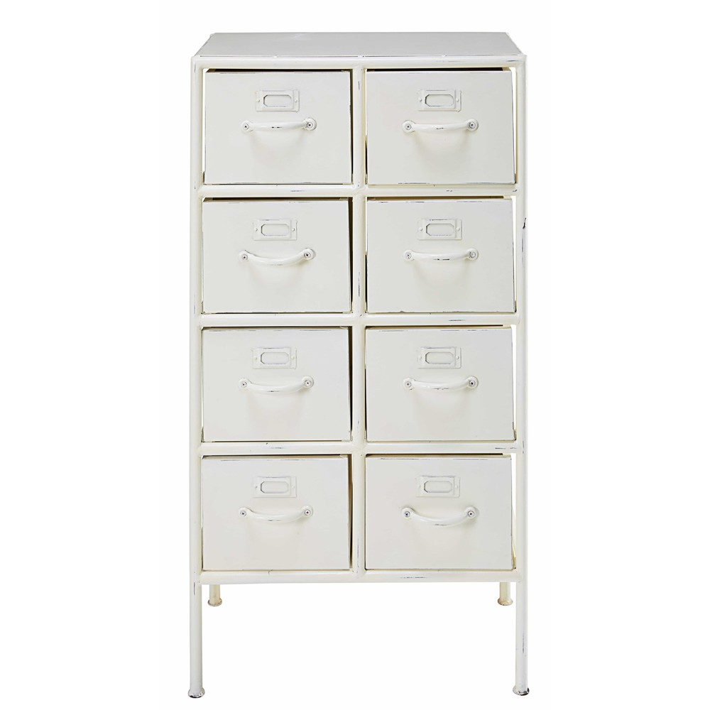 cabinet 8 tiroirs en m tal blanc effet vieilli cranberry maisons du monde. Black Bedroom Furniture Sets. Home Design Ideas