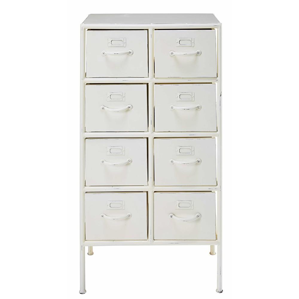 cabinet 8 tiroirs en m tal blanc effet vieilli cranberry maisons du monde. Black Bedroom Furniture Sets. Home Design Ideas